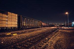 Industrial cargo train on railroad