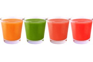 Collection of colored juice isolated