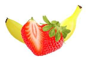 Isolated banana and strawberry