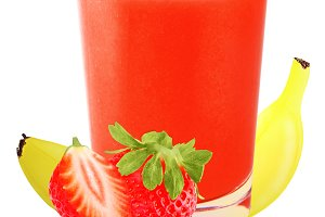 Juice strawberry and banana isolated