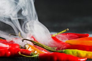 Steaming chilli peppers