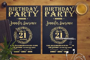 Gold Birthday Party Flyer