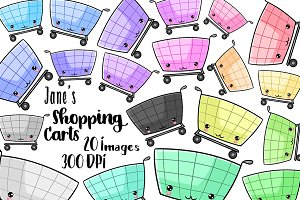 Kawaii Shopping Carts Clipart