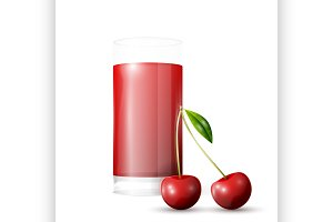 Cherry and glass of juice