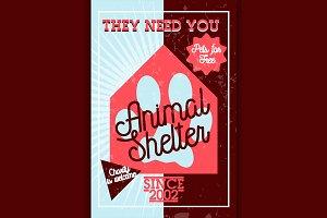 Color vintage animal shelter banner