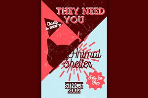 Color vintage animal shelter banner