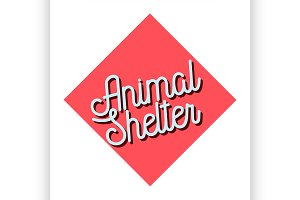 Color vintage animal shelter emblem
