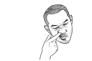 Drawing of man picking his nose