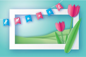 Pink Tulips. Paper cut flower. 8 March. Women's Day. Rectangle frame