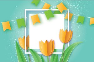 Yellow Tulips. Paper cut flower. 8 March. Women's Day. Square frame