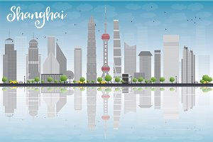 Shanghai skyline with blue sky