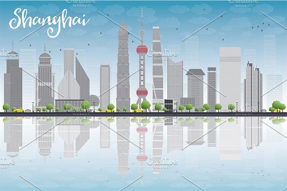 Shanghai Skyline With Blue Sky