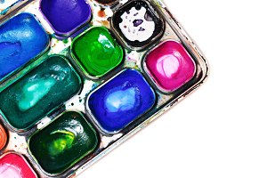 Watercolor paints. Paintbox