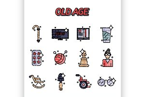 Old age flat concept icons