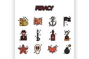 Piracy flat icons set