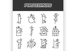 Pyrotechnics flat icons set