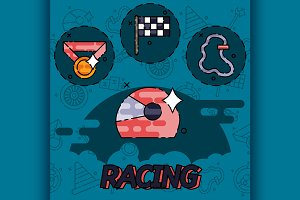 Racing flat concept icons