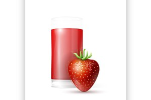 Strawberry and glass of juice