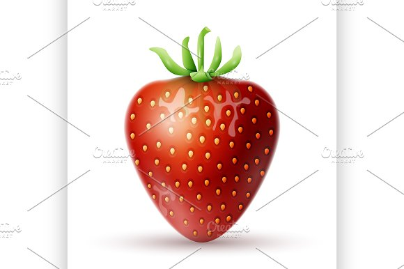 Red Strawberry icon in Illustrations