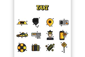 Taxi flat concept icons