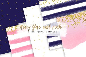 Navy Blue & Pink Gold paper