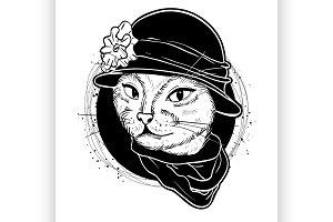 elegant cat woman face