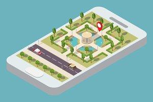 Isometric smartphone navigation GPS