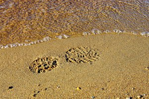 Bootprint on the sand.
