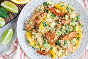 Quinoa, orange and chicken salad tabbouleh, horizontal, top view