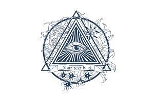 All seeing eye illustration. Tatoo, masonic symbol,