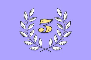 Laurel wreath icon with number Three