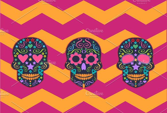Skulls vector with zig-zag