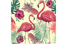 Seamless watercolor pattern with flamingo, leaves, flowers. Hanad drawn vector.