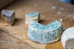 pieces of blue cheese mold