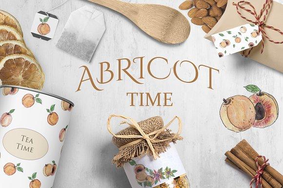 Apricot Watercolor Clipart Set