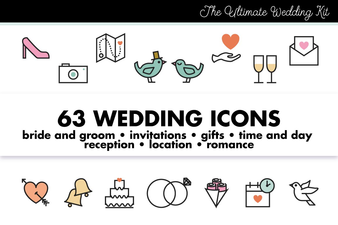 Choose From Over 990 Wedding Icons Creative Market