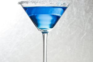 Blue tropical martini cocktail