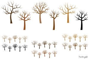 Bare tree silhouettes clipart set