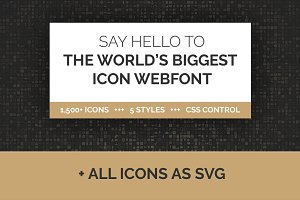 1500+ Icon Webfont in 5 Styles + SVG