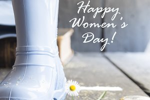 International Happy Women's Day - 8 March holiday vintage concept