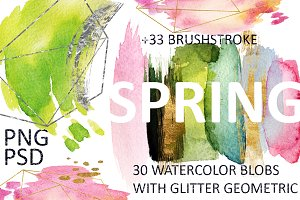 SPRING 63 PNG! WATERCOLOR BLOBS+GOLD