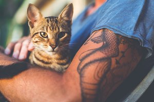 Tattooed Guy with a Cat