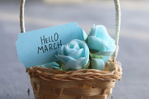 Hello March concept, Rustic still life, roses and tag, vintage stule
