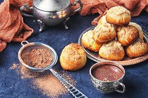 Profiteroles and hot chocolate