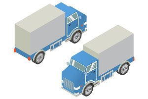 Vector isometric cargo trucks