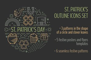 St. Patrick's outline icons set