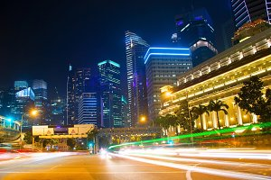 Singapore traffic road at night