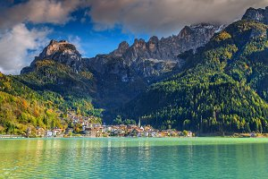Alleghe lake and village, Italy