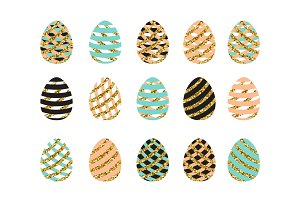 Vector illustration of easter eggs set with striped pink blue gold eggs