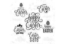 Vector illustration of happy easter lettering typography greeting text sign